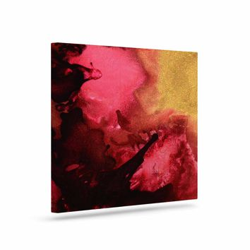 "Claire Day ""Eloquent"" Maroon Gold Abstract Painting Canvas Art"