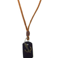 Leather Dog Tag Anchor Necklace