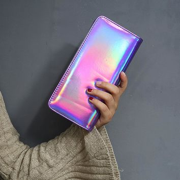 Head Turning Holographic Leather Money Wallet