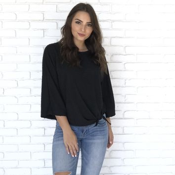 Dot Side Tie Black Blouse