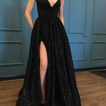 Spaghetti Strap Black Sparkle Popular Long Prom Dresses F5210