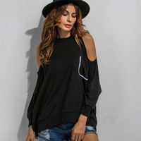 Stylish Round-neck With Pocket Strapless Long Sleeve Hoodies [9125813124]