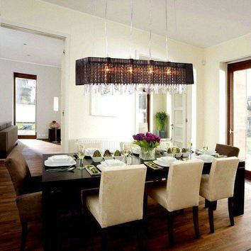 Modern Rectangular Dining Room Crystal Chandelier Shade Pendant Lighting