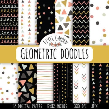Geometric Doodles Digital Paper Pack. Hand Drawn Scrapbooking Paper. Doodle Digital Paper. Triangle, Polka Dot, Chevron Hand Drawn Patterns.
