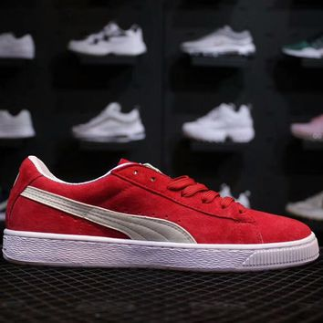 PUMA Suede Classic men's and women's retro sports shoes F-AHXF red