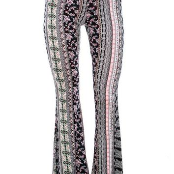 Black and Pink Paisley Flare Pants