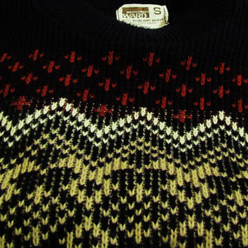 vintage Montgomery Wards ski lodge preppy hispter holiday acrylic sweater.