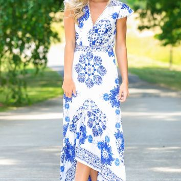 Ode To Beauty Blue Print Maxi Dress
