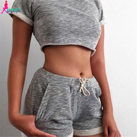 Gagaopt 2016 2 Piece Set Women Crop Top and Waist Pattern Sport Jogging Suits Sexy Summer Suit For Women Fashion Tracksuit