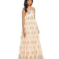 Mignon Beaded Floral Lace Scalloped Gown - Blush