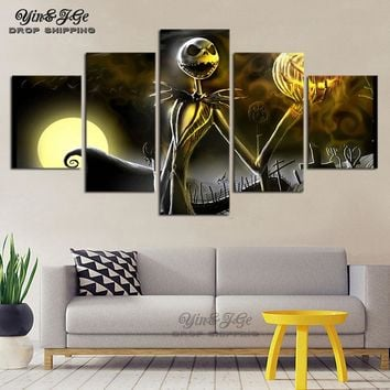 Halloween Decor Wall Canvas Painting 5 Pieces Nightmare Before Christmas Poster HD Prints For Kids Room Modular Picture Artworks