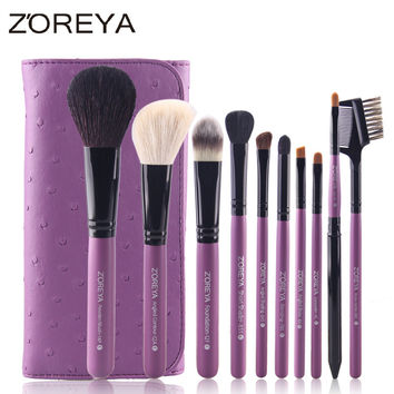 ZOREYA High Quality 10 Pcs Makeup Brushes Professional Set Powder Blush Foundation Eyeshadow Concealer Caplip Blending Brush