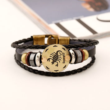 12 Constellations Vintage Leather Charm Bracelet