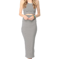 Striped High Waist Body Con Maxi Skirt