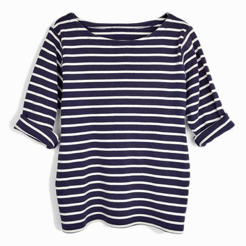 Vintage 90s Breton Stripe Top in Navy Blue / Nautical Striped Shirt - women's large