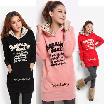 Women Loose Sports Hoodies Alphabets Words _ 11082