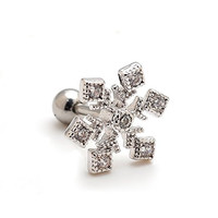 Bala2pcs 16g Snowflake Ear Studs Cartilage Earrings Tragus Helix Piercing 16 Gauges (Bf005)
