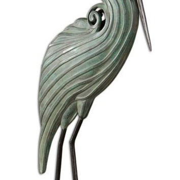 Uttermost Keanu Blue-Green Heron Sculpture - 19566