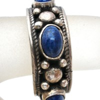 Sterling Silver Band Ring With Lapis Lazuli Size 8