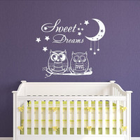 Sweet Dreams Wall Decals Nursery Owl Decal Stars Vinyl Sticker Moon Home Decor Nursery Bedroom Art T104
