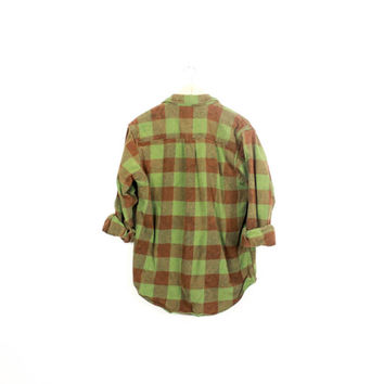 Lived-in Sun Washed Vintage Flannel Shirt |Plaid Grunge| Festival | Boho | M  Green | Brown | |  Buy 2 Get 1 Free