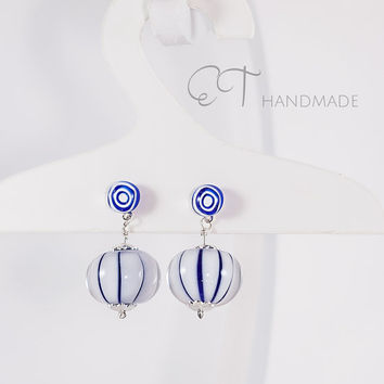 Murano glass striped earrings-Blue and white navi geometric dangle earrings with sterling silver-italian artisan handmade earrings-gift idea