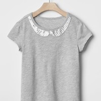 Gap Girls Embellished Peter Pan Tee
