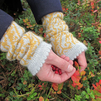 Knit wrist warmers, gray and yellow, alpaca wool arm warmers, fingerless knitted gloves