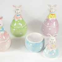 Ceramic Easter Bunny Candle, Easter Egg Candle, Highly Scented Candle