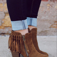 Never Failing Fringe Bootie - Tan