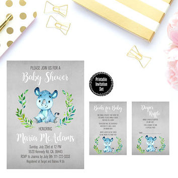 Boy Baby Shower Party Printable, Watercolor Floral Baby Shower Party Invitation, Baby Boy Baby Shower Party Invitation Printable, Invite
