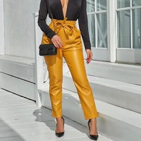 New spring fashion  women's wear slim  bright leather pants with small feet Yellow
