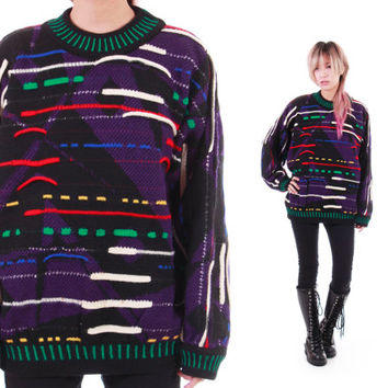 Authentic COOGI Sweater Colorful Textured Wool Abstract Textured Made in Australia 80s 90s Hipster Hip Hop Swag Unisex Small Medium