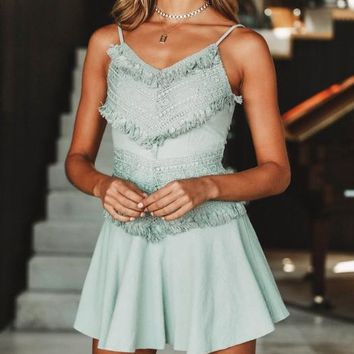 3e31a97caaa Summer New fashion lace back bow-knot straps splice dress women