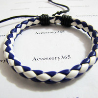 girl or women leather woven cuff wristband by braceletcool on Etsy