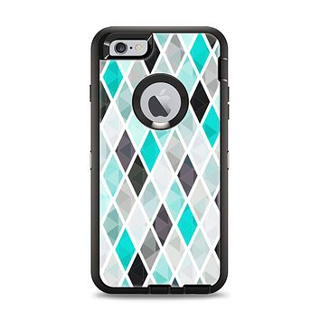 The Graytone Diamond Pattern with Teal Highlights Apple iPhone 6 Plus Otterbox Defender Case Skin Set