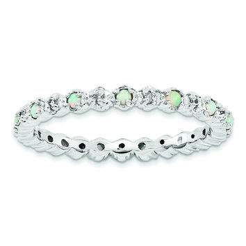 Sterling Silver Stackable Expressions Created Opal & Diamond Ring