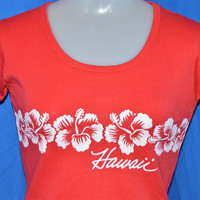 70s Hawaii Hibiscus Flower Rib Knit t-shirt Women's Small