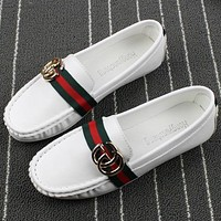 GUCCI spring round flat-bottomed bean shoes shallow mouth low help metal buckle scoop shoes wild shoes White