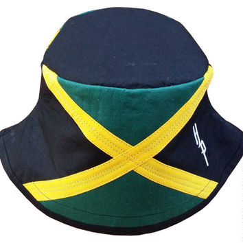 Jamaica Flag Black-top Bucket Hat | Black, Green, Gold | Jamaica Hat by Hamlet Pericles