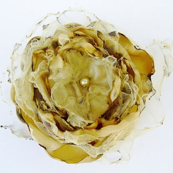 Wedding hair flower, Gold Satin Flower Accessory, Maternity Sash