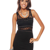 Papaya Clothing Online :: STUD & LACE TRIMMED DRESS