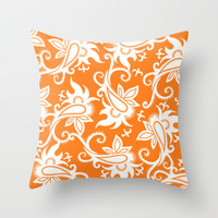Paisley: Orange Ivory Throw Pillow by Eileen Paulino