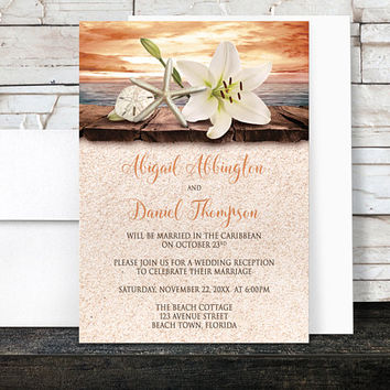 Autumn Beach Reception Only Invitations - Lily Seashells Sand Orange Beige Rustic Wood Tropical Destination Seaside Fall Wedding - Printed