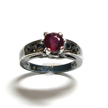 "Ruby ring, oxidized silver ruby,  solitaire ring, engagement ring, anniversary ring, red black, s 6 1/2     ""Red Smoke"""
