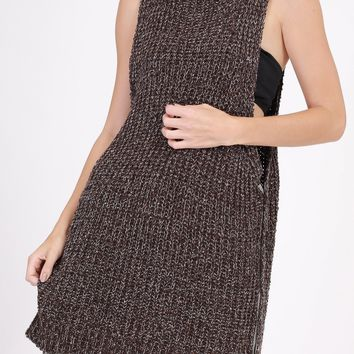 Chocolate Marled Snap Side Muscle Sweater