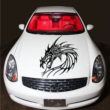Dragon Head Tribal Tattoo Flaming Design Hood Vinyl Sticker Decals D1847
