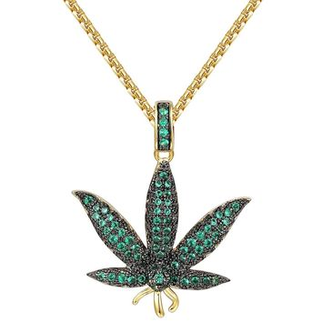 "Iced Out Green Marijuana Leaf Cannabis Pendant 24"" Necklace"