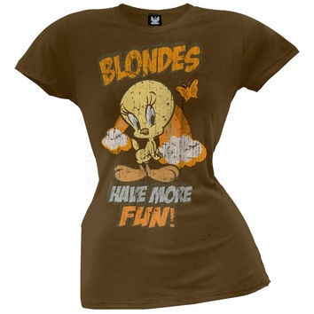 Tweety Bird - Blondes Have More Fun Juniors T-Shirt