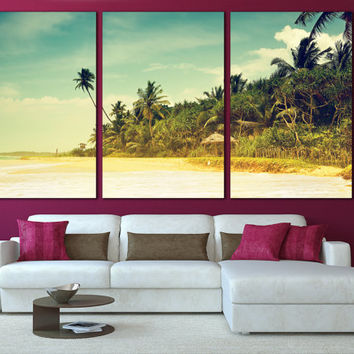Tropical Decor Beach Wall Art Ocean Wall Art Nature Print / Coastal Vintage Print / Tropical Ocean Canvas Art Decor / Beach Canvas Art